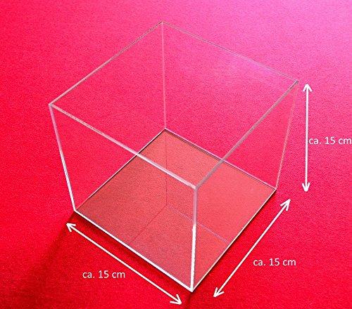 Tisch Vitrine Würfel Acryl Glas Schaukasten Spuck Staub Schutz Ausstellung Gross (Transparent-15x15x15 cm)