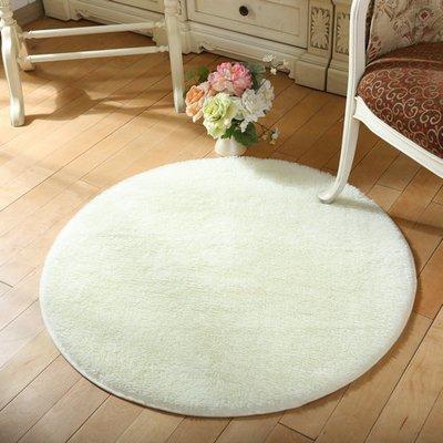 Flauschiger weicher Rund Teppich einfarbige kuschelige Fußmatte für Wohnzimmer Schlafzimmer Kinderzimmer Spielen und Yoga / Durchmesser: 80cm / mehrere attraktive Farben zur Auswahl - weiß Küche-teppich, Gelb, Blau
