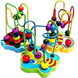 Homesunshine Jouet Jeu Eveil 12 Boules Educatifs Circuit de Motricite en Bois pour Bébé Enfant
