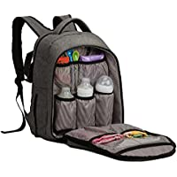 Bolsa de pañales ALLCAMP, mochila de pañales, mochila de pañales Bolsillos de gran capacidad, soporte de cochecito de bebé con cambiador (gris)