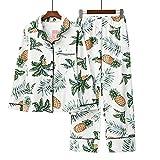 Maiwamita Pyjama en Coton à Manches Longues mis vêtements de Nuit pour Les Grandes Filles et Les Femmes (Gros Ananas, M(38-40))