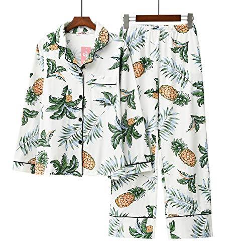 Langarm Baumwolle Schlafanzug Reihe Nachtwäsche für groß Mädchen und Frauen (Große Ananas, L(42-44)) (Pyjama-böden Baumwolle)