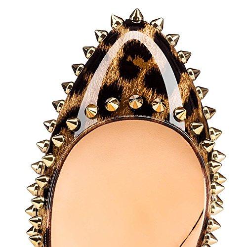 Arc-en-Ciel Damenschuhe der runden Zehe Niet-Absatzpumpen Leopard