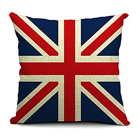 Country Flag Printed Linen Cushion Cover - UK