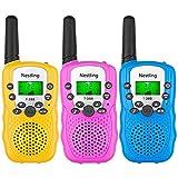 Nestling Talkie Walkie Enfants Longue Portée 3KM 8 Canaux Radio Bi-directionnel VOX 10 Tonalités d'Appel Verrouillage des Canaux,Cadeau De Noël (Pack de 3)
