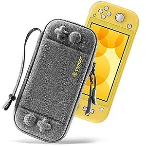 tomtoc Slim Tasche für Nintendo Switch Lite (2019), Tragetasche Carrying Case Hartschale für Switch Lite Konsole und 8 Spielkarten, Schutzhülle mit Originell Patent und Militärischer Schutz Grau