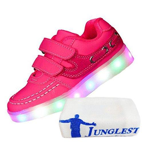 (Present:kleines Handtuch)JUNGLEST® 7 Farben LED Kinder, Jungen, Mädchen führte leuchten Trainer Sneakers Turnschuhe Sportschu Pink