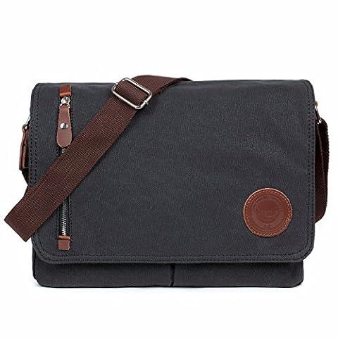 LOSMILE Unisex Vintage Canvas Umhängetasche Schultertasche Messenger Bag für Arbeit Uni Reise Sport,Herren Retro Canvas Freizeit Handtasche. (Schwarz)