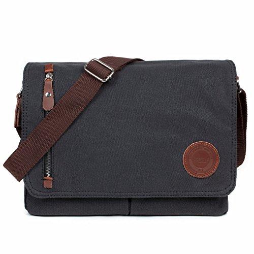LOSMILE Unisex Vintage Canvas Umhängetasche Schultertasche Messenger Bag für Arbeit Uni Reise Sport,Herren Retro Canvas Freizeit Handtasche. (Schwarz) (Herren Leder Canvas)
