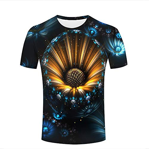 Mens Womens 3D Printed Casual T-Shirts Abstract Yellow Blue Sunflower, Daisies Crewneck Short Sleeve Fashion Couple Tees S -