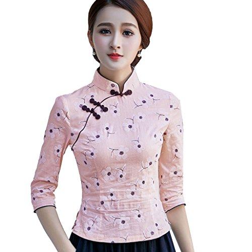 YueLian Camicia a Fiori Stampati Cotone Canapa Aderente Blusa a Maniche Medie Rosa chiaro