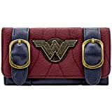 DC Wonder Woman Silver Badge Buckle Strap Rouge Portefeuille