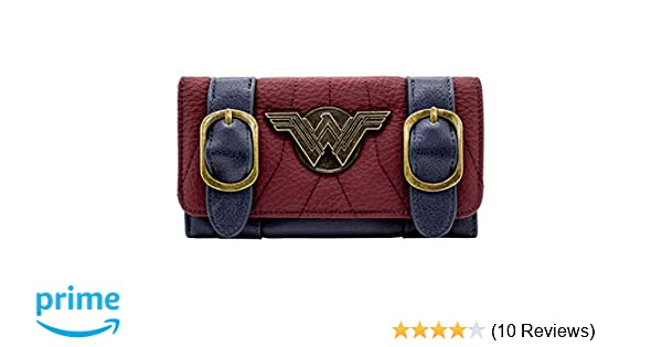 NEW OFFICIAL DC WONDER WOMAN SILVER BADGE BUCKLE STRAP RED TRI-FOLD PURSE