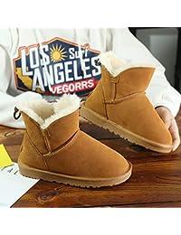 XIGUABOOT Mujeres Botas De Invierno Campo De Nieve Botas De Cuero Zapatos De Algodón Estudiante Invierno