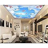 BIZHIGE Mode Moderne Esthétique Peinture Décorative 3D Papier Peint Blanc Nuages Rêve Ciel Zénith Peintures Murales-400 × 250 Cm