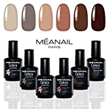Set de Esmaltes de Uñas Gel UV LED 6 Colores Esmaltes Semipermanente Laca Soak Off Gel Nail Polish Collection Chocolate Intense Ideal Manicura y Pedicura