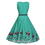 MORCHAN Femmes Vintage Floral Moulante Imprimer sans Manches Robe de Soirée Décontractée (XL, Vert)