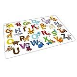 nikima Schönes für Kinder - 1 Kunststoff Tischset mit Lerneffekt - ABC bunt Tiere Alphabet Buchstaben- Platzdeckchen Platzset - Geschenk zum Schuleintritt Schulanfang Einschulung Kinder