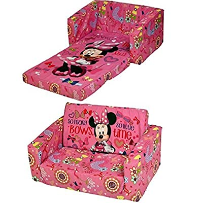 Cartoon Character Childrens Flip Out Double Foam Sofa Settee Kids Lounger Couch Bed Seat (Disney Minnie Mouse) - low-cost UK light shop.