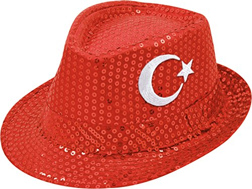 Kostüm Polen Land - Fanartikel Pailletten Hut EM & WM Trilby Hut 7 Länder (Türkei)