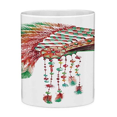 Kopfschmuck Chief Kostüm - Rongpona Bleifreie Keramikkaffeetasse Teetasse Weiße Feder 11 Unzen Lustige Kaffeetasse Tribal Chief Kostüm Kopfschmuck Indianerkultur Ethnizität Symbol Dekorativ Zinnoberrot Orange Gree