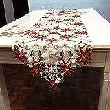 Faylapa Weihnachts-TischLäufer, 15 x 69 Zoll luxuriös Bestickte Poinsettia Holly Leaf TischWäsche-Hochzeit WeihnachtsTisch Dekoration