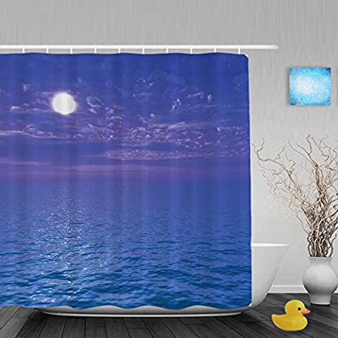 Beautiful Sea And Sky At Sunset Bathroom Shower Curtains Waterproof Mildewproof Fade Resistant Polyester Fabric Blue 72