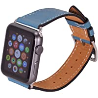 Apple Watch Bracciale OKCS® 42 mm Cinturino in pelle cinturino in vera pelle orologi Bracciale Wrist Strap Genuine Leather con Watch Connector Adapter, in nero 42 mm Türkis Blau silberner Connector
