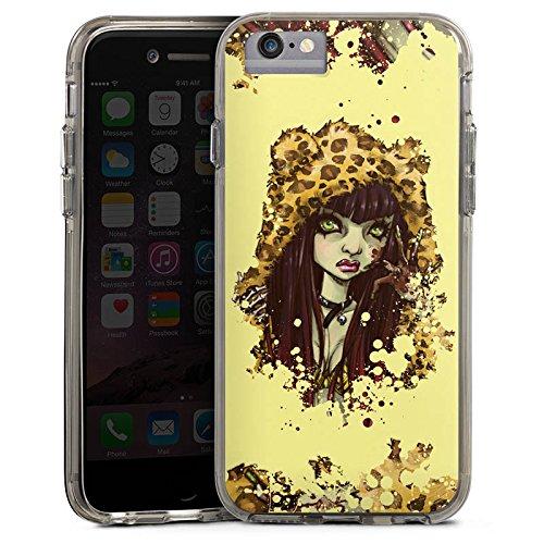 Apple iPhone 6 Bumper Hülle Bumper Case Glitzer Hülle Comic Leo Girl Bumper Case transparent grau