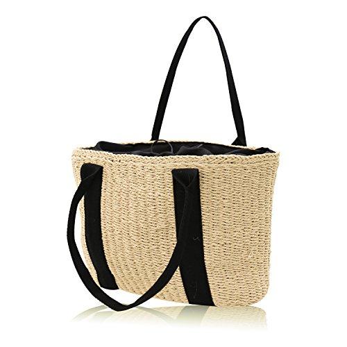 HJR 2018 Frauen handgewebte Handtasche aus Naturstroh Für Urlaub, Strand, Freizeit Hohe Kapazität Tote Bag Farbe Beige (Tote Stroh Natürlichen)