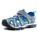 Aimee Sommer Strand Geschlossene Sandalen Klettverschluss Outdoor Wanderschuhe Ultraleicht Breathable Schuhe Flach Jungen Mädchen Kinder(EU 27 --- Schuhe Innenlänge 17.0cm,Grau)