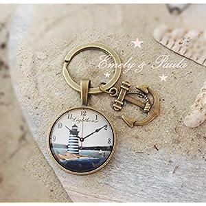 SchlüsselAnhänger CabochonFassung Blatt Leuchtturm Anker Uhr Strand Ahoi Meer Schlüsselring Vintage bronze
