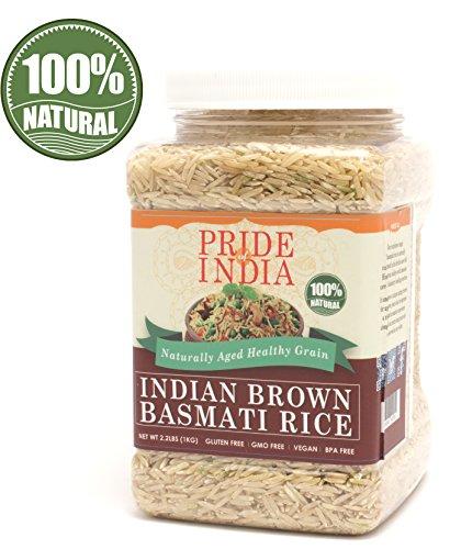 Pride Of India - Extra Long Indian Brown Basmati Rice -3.3 lbs (53 oz) Jar - Natürlich aromatische, gesunde und nahrhafte Ernährung - Niedriger glykämischer Index - Ideal für Salate, Pilaw & Desserts.