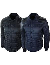 Mens Quilted Mid Length Blue Black Slim Fit Light Puffer Jacket Coat