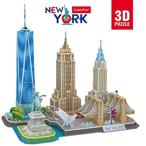 CubicFun 3D US New York City Puzzle DIY Gebäudemodellbausätze Geschenk und Souvenir für Erwachsene und Kinder, 123 Teile (3d-puzzles Für Kinder)