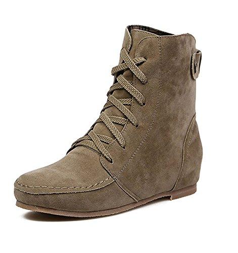 Minetom Inverno Moda Lace Up Boots Donne Scarpe Piatte Stivaletti Scarpe Fibbia Della Piattaforma Confortevole Martin Boots Cachi Plaid