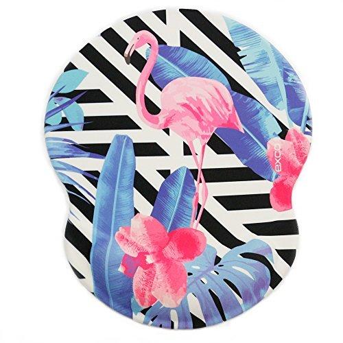 Exco Ergonomische Maus-Pad, schwarz, mit weicher Komfort-Handgelenkstütze aus Silikongel, rutschfester PU-Boden, Handgelenk-Pad mit glatter Oberfläche