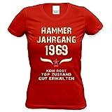Damen T-Shirt Hammer Jahrgang 1969 Geschenk-Idee zum 50. Geburtstag in den Farben: schwarz und rot
