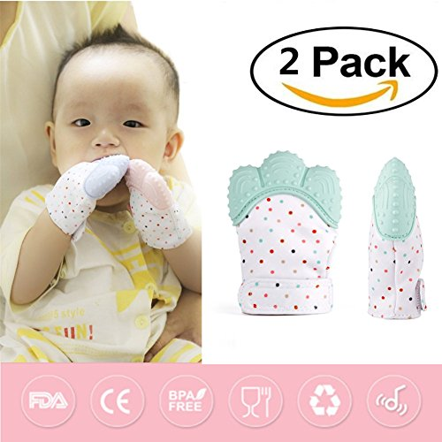 2 Pack Baby Teething Mitten by GbaoY, Babies Self-Soothing Pain Relief and Teething Toy, BPA Free Safe Food Grade Teething Mitt 514pB8EaBNL