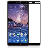 Colorcase Tempered Glass Screenguard for Nokia 7 Plus - {Black}