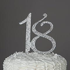 Idea Regalo - Numero 18 Decorazione topper argento per 18 compleanni con strass e brillantini.