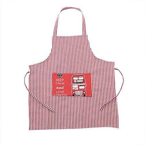 Dylandy Schürze mit Streifenform Vordertasche Kochen für Männer Frauen Kinder Zuhause Küche Restaurant Cafehaus, rot (2), 62.5 * 59.5CM