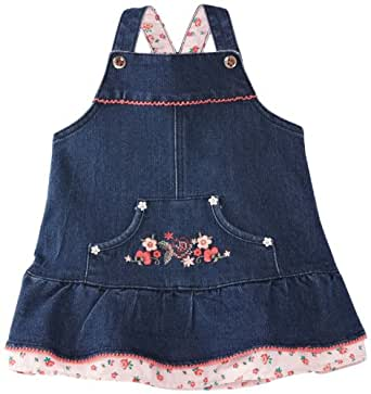 Pumpkin Patch Baby Girls Eastern Treasure Soft Pinnie Dress, Blue (Blue Denim), 0-3 Months