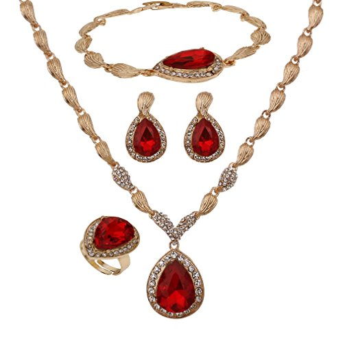YAZILIND Women Bridal Red Crystal Jewelry Sets 18K Gold Plated Necklace Earrings Bracelet Ring Sets