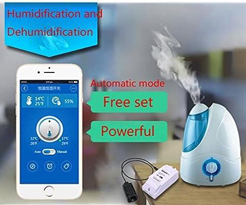 sunnymi Smart Home Temperatur Feuchtigkeit Regler, TH10 Monitoring WiFi Smart Switch,Arbeitet Perfekt Mit Elektrischem Ventilator Klimaanlage Luftbefeuchter Intelligenter Fischbehälter Bewässerungssystem (Eingangsstrom: max. 16A)