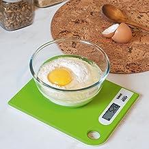 Tatkraft Green Báscula de Cocina para Alimentos Digital Diseño Slim con Colgadero Vidrio Templado