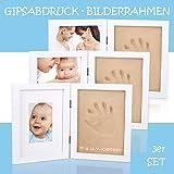 3 x Bilderrahmen Gipsabdruck Baby Taufe Hand Fuß Bauch Fotorahmen, Baby Abdruck UVP: 60 Modelliermasse