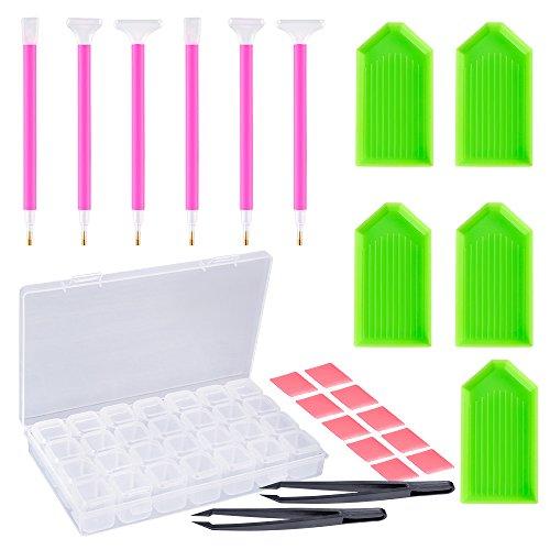Pllieay 24 Stücke DIY Diamant Malerei Werkzeuge Einschließlich Diamant-Stich-Stift, Pinzette, Klebstoff, Kunststoff-Tablett und Diamant-Stickerei-Box für DIY Kunsthandwerk -