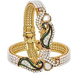 Zeneme Dancing Peacock American Diamond Gold Plated Bracelet / Kada For Women / Girls