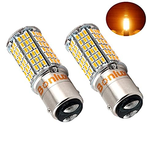 Bonlux 2-Pack 5W LED 1157 Ba15d SBC double contact Bayonet ampoule 10-30V DC double connecteur parallèle Pin 1076 1130 1176 1142 LED 50W ampoule de rechange pour voiture RV Camper éclairage (blanc chaud)